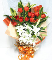 20 red tulip,6 white lilium