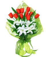 3 white lilium,10 red tulip