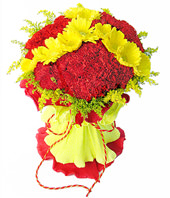 38 red carnations,12 yellow gerbera