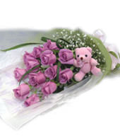 12 Purple roses,a lovely bear