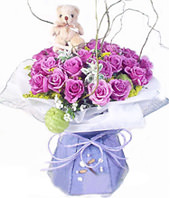 20 Purple roses,a lovely bear