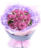 21 Purple roses with baby's breath and green foliages