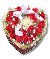 28 Red Roses, A Chocolate, heart-shaped arrangement flowers