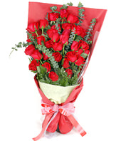 33 Red Roses with rich Eucalyptus