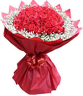66 Hot red roses wrapped by red circular cotton paper