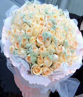 A bouquet of 99 champagne roses