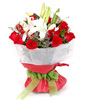 3 white Lilium,19 red roses