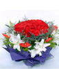 33 Red roses,5 white lilium
