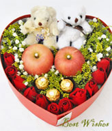 Ping Ping An An Gifts box (Best Wishes):Roses,Cholocate,Apples