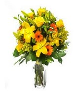 Autumnal Lilies: lilies and yellow roses