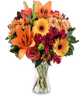 Sunset: orange lilies and gerberas