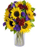 Bright sunflowers, Limonium (sea lavender)
