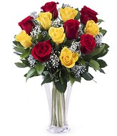 Pretty Lady: 6 red roses and 6 yellow roses