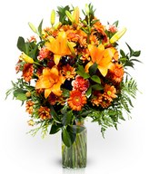 Orange lilies and carnations