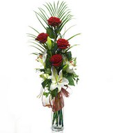 Admiration Personified: red roses and white lilies