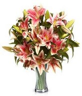 Pink flowers features pink lilies (stargrazers) and matching greenery