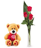 Teddy Love: 3 red roses and teddy bear