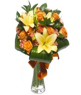 Adoration and Decoration: orange lilies & roses