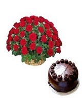 40 red roses in basket with 1/2 kg chocolate cake