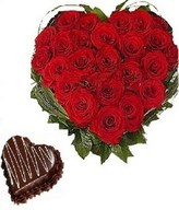 25 Red roses heart shape arrangement with 1 kg heart shape chocolate cake