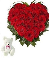 25 Red roses hert shape arrangement with a six inch teddy bear