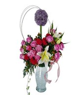 Pink Roses, Purple Alium and filler in vase