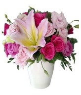 Soft and Deep Pink Roses, Pink carnation with lilies and Filler in Vase