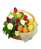 Fruit basket with roses and carnations arrangement