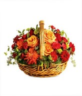 Roses and carnations basket