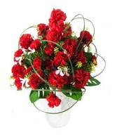 Red carnations arrangement in vase