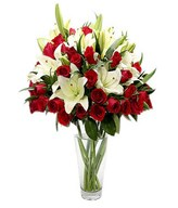 Combination of Red Roses & Lilies