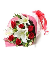 Hand Bouquet of Roses and Lilies