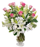 Combination of Roses, Orchids, Lilies In A Vase