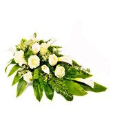 Arrangement of White Roses & White Calla Lily with Greens