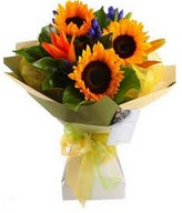 Sunflowers bouquet with Orange Asiatic Lily