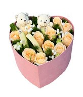 12 peach roses with babybreath, and 2 cute bears arranged in a heart shape box