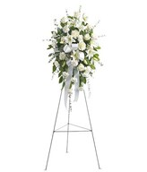 Funeral Standing of White Flowers - Roses, Lilies and Greens