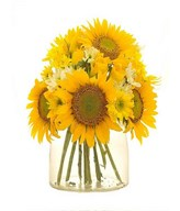Sunflower, Yellow roses with White and Yellow Daisies in a glass vase