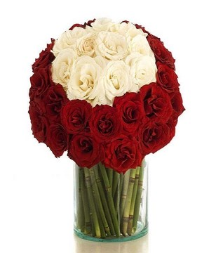 3 Dozen of White and Red Roses in a Vase