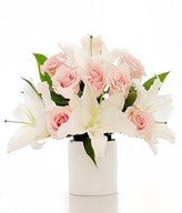 White Lilies and Pink Roses in a Vase