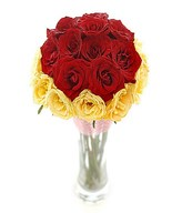 20 Stems of Red and Yellow Roses in a Vase