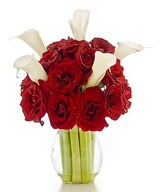 Red Roses and White Lilies in a Vase