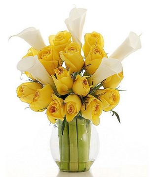 White Lilies and Yellow Roses in a Vase