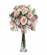 12 Pink Roses, Carnations and fillers in a Vase