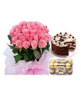 Pink roses bouquet, Black forest cake, and a box of chocolate