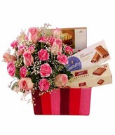 Pink Roses & Carnation with Assorted Chocolates in a Box