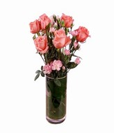 6 Pink Roses and pink carnation in a Vase