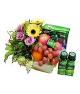 6 Bottle of Chicken Brand Essence, Assorted Fruits With Roses & Gerbera