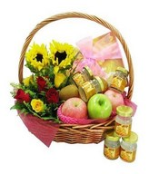 6 Bottle of Bird's Nest, Assorted Fruits With Roses & Sunflowers