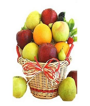 A freshness fruit basket with apples, oranges and pears